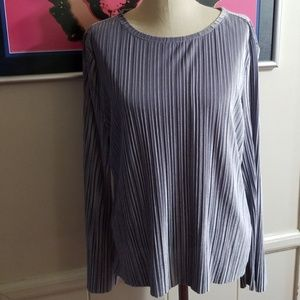 INC SILVER VELVET LONG SLEEVE BLOUSE size Large